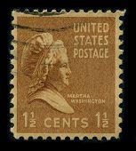USA - CIRCA 1938: A stamp shows portrait Martha Dandridge Custis Washington (June 2, 1731 - May 22, 1802) was the wife of George Washington, the first president of the United States, circa 1938.