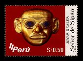 PERU-CIRCA 1987:A stamp printed in PERU shows image of The Lord of Sipan  is the name of a mummy of an elite man found in Sipan by Peruvian archaeologist Walter Alva in 1987, circa 1987.