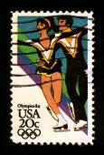 Estados Unidos - alrededor de 1984: Un sello impreso en Estados Unidos muestra imagen de dedicado a la 84 Olimpiada, circa 1984