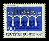 GERMANY-CIRCA 1984:A stamp printed in Germany shows image of the Europe is one of the world's seven continents, circa 1984.