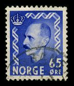 NORWAY-CIRCA 1940:A stamp printed in NORWAY shows image of Haakon VII (Prince Carl of Denmark and Ic