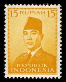 INDONESIA-CIRCA 1970:A stamp printed in INDONESIA shows image of the Sukarno, born Kusno Sosrodihard