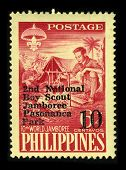 PHILIPPINES-CIRCA 1959:A stamp printed in PHILIPPINES shows image of The 10th World Scout Jamboree w
