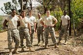Military soldiers standing near fitness trial at boot camp poster