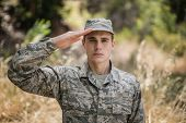 Portrait of military soldier giving salute in boot camp poster
