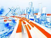 Abstract cityscape and highway with wireframe