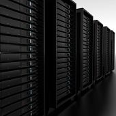 a 3d illustration of a row of servers
