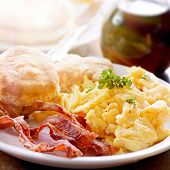 stock photo of scrambled eggs  - hearty breakfast - JPG