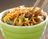 picture of lo mein  - eating beef lo mein in a bowl with chopsticks - JPG