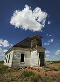 Abandoned Church Wide Angle With Cloud