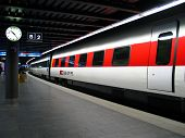 Train at a train station in Zurich