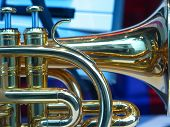 Closeup of a portion of a trumpet
