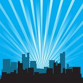 Vector - Office building and skyscraper silhouette against star burst background.