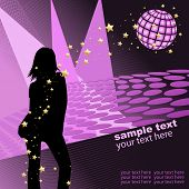 Vector - Silhouette girl dancing in disco party environment. Can be used as poster.