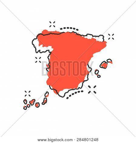 Vector Cartoon Spain Map Icon