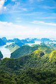 scenic view over Ha Long bay from Cat Ba island, Ha Long city in the background, UNESCO world herita poster