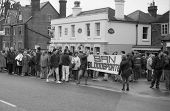 TENTERDEN, ENGLAND - DECEMBER 26: Anti hunt protestors demonstrate at the Boxing Day meet of the Ashford Valley Hunt on December 26, 1992 at Tenterden, Kent. Fox hunting was outlawed in  2004.