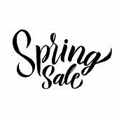Spring. Trendy Script Lettering Design Spring Sale. - Vector poster