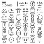 Clothes Line Icon Set, Clothing Symbols Collection, Vector Sketches, Logo Illustrations, Garment Sig poster