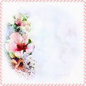 Floral Vivid  Greeting Card With Abstract Peach Flowers On Grunge Stained  Hazy Background  In Paste poster