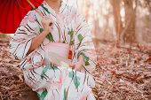 Asian Woman Wearing Japanese Traditional Kimono With Sunset Background,kimono Japanese Dress,japanes poster