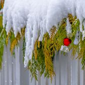 Snow Covered Garland On A Wooden Fence In Daybreak poster