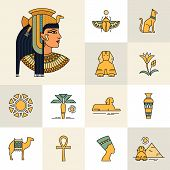 Icon Set With An Illustration Of An Egyptian Goddess, Egyptian Queen Or Egyptian Woman. Isolated On  poster