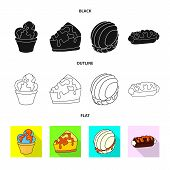 Vector Illustration Of Confectionery And Culinary Logo. Collection Of Confectionery And Product Vect poster