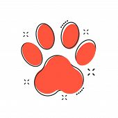 Vector Cartoon Paw Print Icon In Comic Style. Dog, Cat, Bear Paw Sign Illustration Pictogram. Animal poster