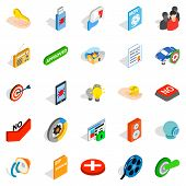 Computer Security Icons Set. Isometric Set Of 25 Computer Security Icons For Web Isolated On White B poster