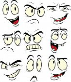Cartoon facial expressions. Vector illustration. Each element in a separate layer for easy editing.