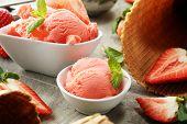 Strawberry Ice Cream Scoop With Fresh Strawberries And Icecream Cones poster