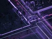 Futuristic City Of Glass And Metal. Retro Style Of The 80s. Neon Light. Transmission Of Digital Data poster