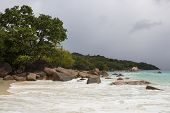 Panorama Of Coastline At Anse Lazio, Seychelles poster