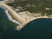 Aerial View, Erosion Of The Coastline At The Tip Of Cap Ferret, Bay Of Arcachon, Sand Dune, Gironde, poster