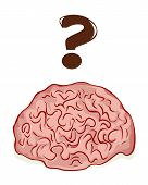 picture of neurotransmitter  - Illustration of a brain with a question mark - JPG