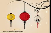 Fairy-lights. Big traditional chinese lanterns will bring good luck and peace to prayer during Chinese New Year. Vector Illustration.