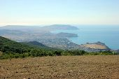 Excellent Panoramic Sea And Mountain View And Mountain Landscape View And View On Small Town In Sea  poster