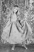 Little Girl In Fashionable Dress, Prom. Fashion Model On Silver Background, Beauty. Look, Hairdresse poster