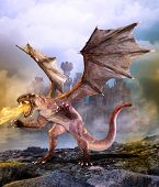 Fantasy Scene Dragon Attacking Castle, 3d Render Painting poster