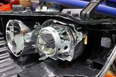 Macro View Of Repairing, Installation And Tuning Headlight Of Modern Automobile And Car Projector Le poster
