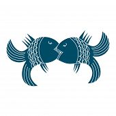 Kiss. Fodder Fish Icon. Lovers Of Fish. Love And Tenderness Illustration. poster