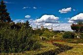 San Lorenzo De El Escorial Monastery Spires , Spain On A Sunny Day