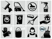 image of dust-bin  - Vector black cleaning icons set - JPG