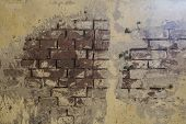 Empty Old Brick Wall Texture. Painted Distressed Wall Surface. Grungy Wide Brickwall. Grunge Red Sto poster