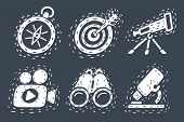 Vector Cartoon Illustration Of Discovery Icon Set. Telescope, Search, Binoculars, Microscope, Compas poster