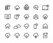 Cloud Computing Line Icons. Data Storage Technology Information Infrastructure System Data. Cloud Ac poster