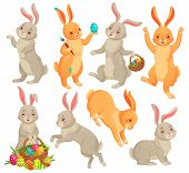 Easter Bunny. Jumping Rabbit, Dancing Funny Bunnies Animals And Rabbits Easters Eggs Vector Cartoon  poster