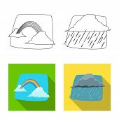 Isolated Object Of Weather And Climate Symbol. Collection Of Weather And Cloud Vector Icon For Stock poster