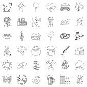 Countryside Icons Set. Outline Style Of 36 Countryside Icons For Web Isolated On White Background poster